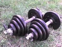 Metal Dumbbell barbell Weights and Bars 70.9 lb's 32.2 kg approx