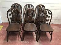 Set of 6 ercol styled wooden chairs