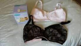 2 nursing bras and nursing pads