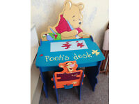 VGC Winnie The Pooh Children's Desk & Tigger Chair