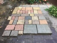 Paving slabs/blocks, assorted colours.