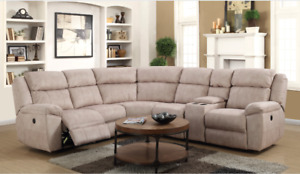 HOMETOWN - CREAM LEATHER LOOK POWER RECLINING SECTIONAL
