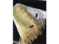 Cashmere Scarf/ Pashmina , one cream, one mustard/yellow