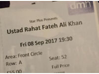 Two tickets for Ustad Rahat Fateh Ali Khan concert at De Montfort Hall on Friday 8th September