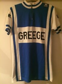 Vintage cycling jersey - wool - blue/white