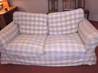 TWO IKEA 2-seater Ektorp sofas with cream / beige check washable covers - will accept offers for one