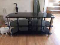 """Black Glass and Chrome Legs TV Stand —For up to 50"""" TVs"""