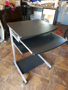Small computer desk cart laptop stand