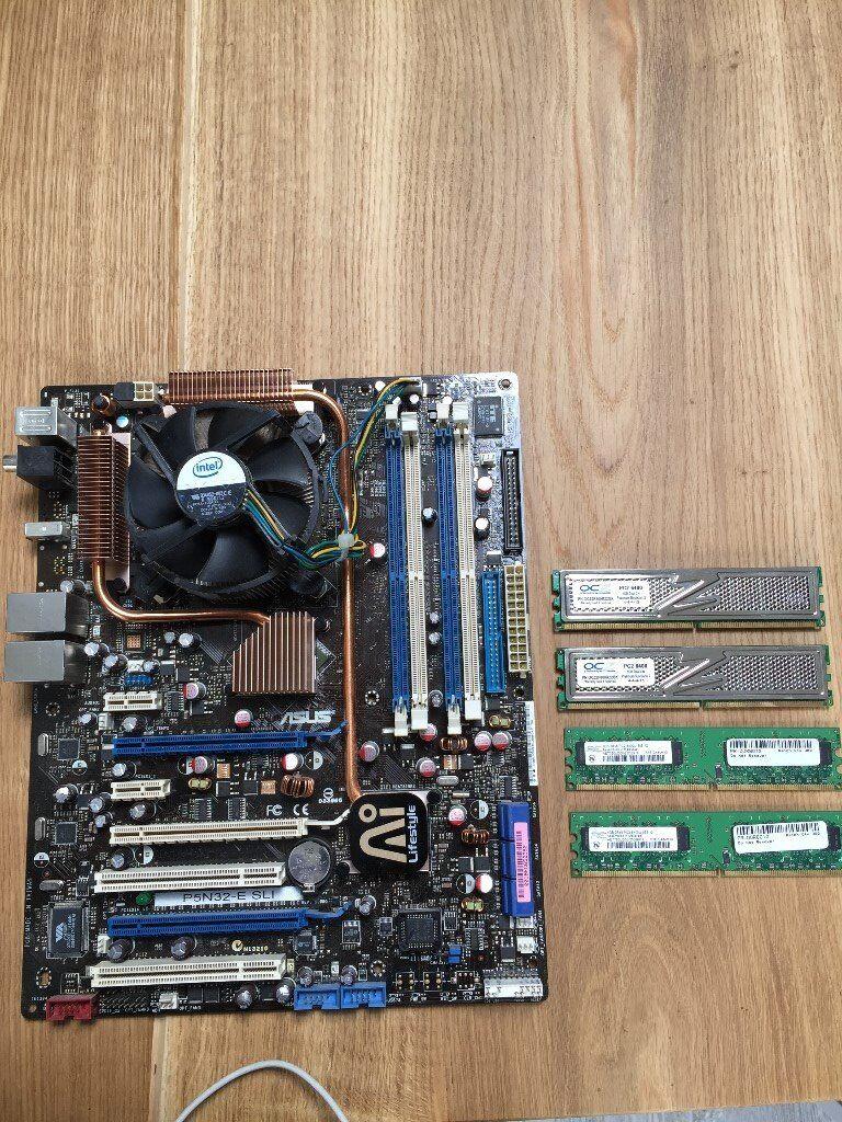 Asus P5n 32 Motherboard 4gb Pc2 6400u Ram Core 2 Quad Q6600 Processor