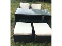 Brown rattan 5 piece storeaway garden furniture dining set includes cushions