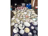 Job lot of vintage crockery - tea cups, plates, side plates, saucers and more