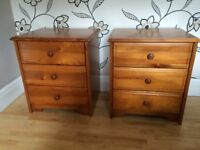 TWO MATCHING PINE BEDSIDE CABINETS WITH 3 DRAWERS EACH