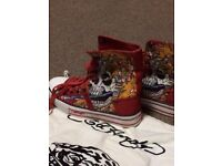 Ed Hardy Boots - Brand new. Women's. UK size 38. Red flaming skull tattoo art. Never worn.