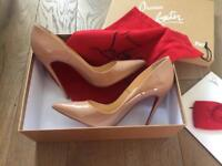 Christian Louboutin So Kate 120mm Nude Patent Heels