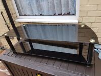 Large good quality black glass tv stand excellent condition