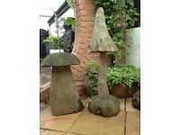 Wooden mushroom and toadstool outdoor or indoor use