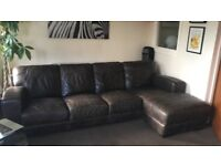 Dark brown leather 4 seater L shaped sofa