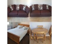Flat clear out dining table, 3 seater sofa, 2 seater sofa bed