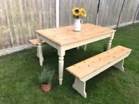 Restored Pine Dining Table and Bench Set Painted in Annie Sloan