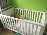 Mothercare White Cot Bed with Cot Top Changer and matching Chest of Drawers