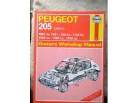 HAYNES WORKSHOP MANUAL for PEUGEOT 205 ( PETROL) 1983-1991