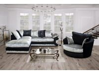 ** SPECIAL OFFER ** BRAND NEW MAX DIAMOND CRUSH VELVET 3+2 OR CORNER SOFA EXPRESS DELIVERY