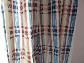 Quality pair cream tartan thick cotton and lined curtains, long length
