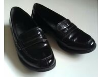 Black Patent Leather Loafers by Marks and Spencer - Size 7 1/2