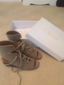 Chloe Gladiator Canvas Wedge Sandal - Brand New With Tags