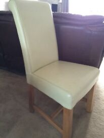 6 X cream faux leather and solid oak dining chairs