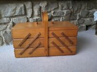 70's wooden Sewing box