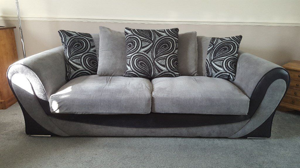 Sofaworks Smile Suite Sofa And Two Chairs In Grey Black In Durham County Durham