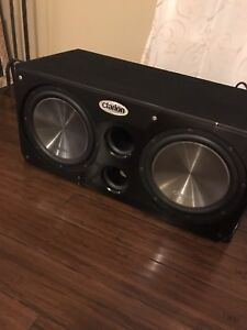 "^** TWO 12"" CLARION SUBS & BOX WITH KICKER AMP!!"