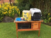 Rabbit or Guinea Pig Hutch + Quality Pet Carrier + Extras