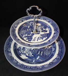 BLUE WILLOW - JOHNSON BROS 2 TIER CAKE STAND