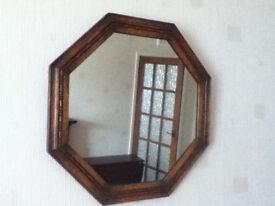 Oak-framed mirror