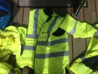 Hi viz water proof padded jackets and waterproof trousers.