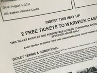 Warwick Castle Sun Tickets x 2 for Thursday 03/08/17 only (Adult or Child)