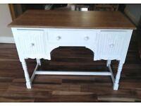 White painted desk with solid oak top...