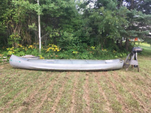 16.5' square stern canoe and motor