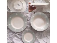Susie Watson tableware set for 4 people in blue spot design