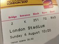 IAAF World Championship Sunday 6 Aughust 10.00 2x tickets