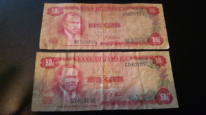 Two  1960 Jamaica  50 Cent Notes