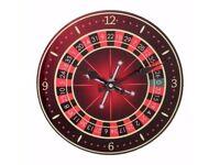 WALL CLOCK 30 cm DIAMETER - ROULETTE WHEEL VEGAS CASINO THEME