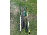 Selection of old fishing rods