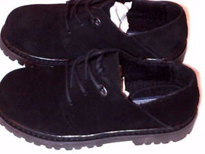 $19 NEW Lands End Black Suede Boys Oxford Dress Casual Shoes 1Y