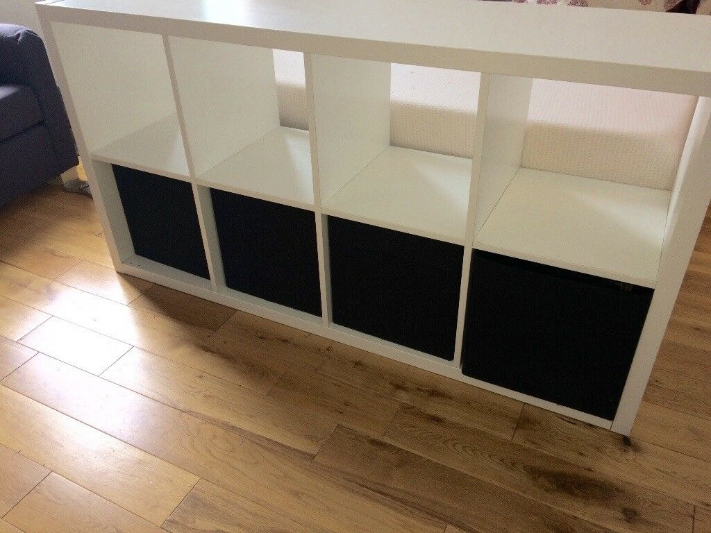 Bedroom furniture packin Acton, LondonGumtree - Bedroom furniture pack 1 White wooden shelving unit with 4 drawers and shelves with storage space 1 Sofa bed with pillows 2 black wooden coffee / bedside tables