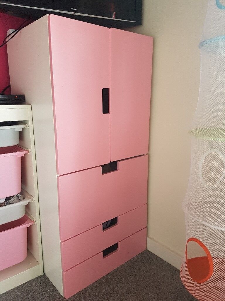 S Kids Toddler Baby Pink And White Ikea Wardrobe With Drawers