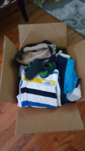 Big box of 6-12month baby boy clothes + free boppy pillow