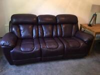 DFS Supreme leather 3 seat electric recliner